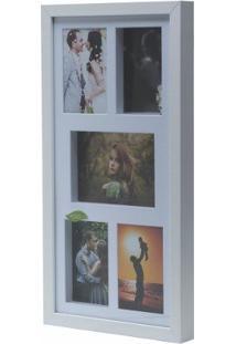 Painel De Fotos Branco Collection Para 5 Fotos Woodart