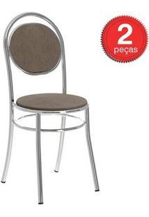 Cadeira 190 Cromada 02 Unidades Tecido/Camurça Conhaque Carraro