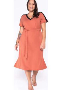 Vestido Almaria Plus Size New Umbi Liso Malha Lara