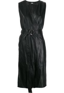 Karl Lagerfeld Leather Wrap Dress - Preto