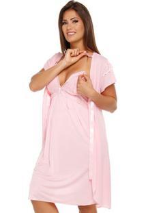 Jogo De Camisola Com Robe Gestante Em Liganete