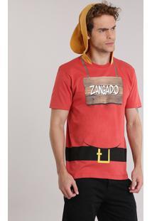 """Camiseta Masculina Carnaval 7 Anões """"Zangado"""" Com Capuz Vermelha"""