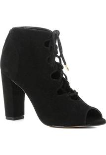 Ankle Boot Shoestock Nobuck Lace Up - Feminino-Preto