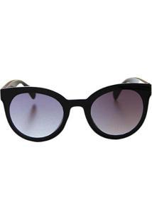 Óculos De Sol Khatto Round Black Italiano - Pu Feminino - Feminino-Preto