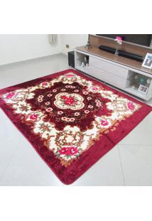 Tapete Aveludado 3D Estampado Dubai Bordô 2,00Mx2,50M Home Têxtil