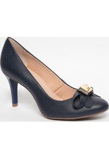 Sapato Em Couro Com Laço - Azul Marinho- Salto: 8Cmjorge Bischoff