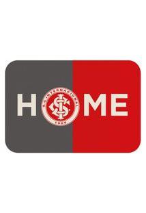 Tapete De Porta Oficial Do Internacional Home Cinza E Vermelho 60X40Cm