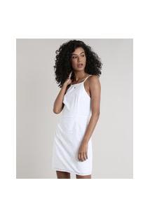Vestido Feminino Curto Em Laise Alças Finas Decote Reto Off White