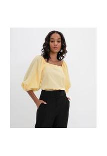 Blusa Lisa Em Tricoline Com Mangas Bufantes | Cortelle | Amarelo | Pp