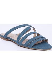 Sandália Rasteira Com Tiras - Azul Claroluiza Barcelos