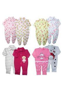 Macacão Promoção Enxoval Roupa Bebê Kit 8 Pçs Menino Menina Rosa
