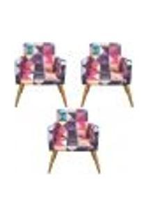Conjunto 3 Poltronas Decorativas Nina Triângulos - Bela Casa Shop