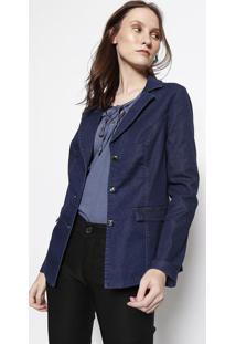 Blazer Jeans Com Recortes- Azul- ÊNfaseãŠNfase