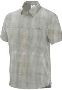 Camisa Capri Ss Cinza Claro/Verde Masculina G - Salomon