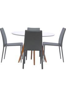 Mesa De Jantar Square Redonda Branco Fosco 90Cm + 4 Cadeiras Noga Fendi
