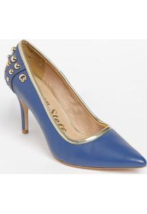 Scarpin Em Couro Com Rebites- Azul Escuro & Dourado-Carmen Steffens