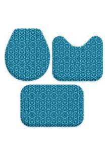 Jogo Tapate Love Decors Para Banheiro Geométrico Azul Único