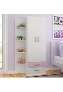 Guarda Roupa Infantil 2 Portas 2 Gavetas Com 4 Prateleiras Externas Siena Móveis Branco/Rosa