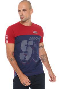 Camiseta Gangster Logo Vermelha/Azul-Marinho