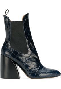 Chloé Ankle Boot Com Textura 'Wave' 90 - Azul