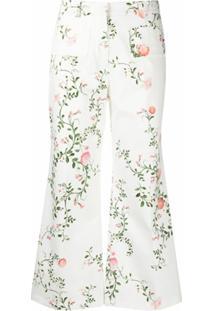 Giambattista Valli Calça Cropped Com Estampa Floral - Branco