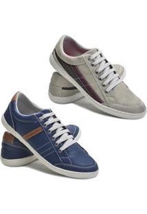 Kit 2 Pares Sapatênis Dec Shoes Tênis Casual Masculino - Masculino-Marinho+Cinza