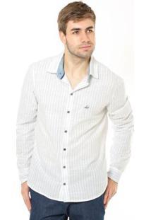 Camisa Denuncia Manga Longa Masculina - Masculino-Branco