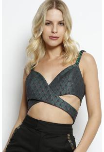 Blusa Cropped Com Transpasse- Verde Escuro & Preta- Lança Perfume