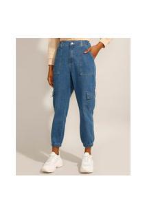 Calça Jogger Cargo Jeans Cintura Super Alta Azul Escuro