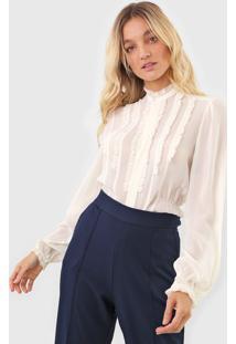 Camisa Polo Ralph Lauren Acinturada Babado Off-White