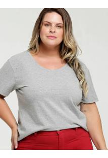 Blusa Feminina Strass Plus Size Manga Curta Marisa