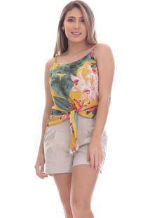 Regata Clara Arruda Estampada Nó Frontal 60161 Floral
