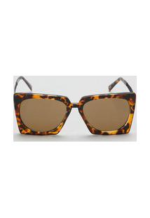 Amaro Feminino Óculos De Sol Geométrico Acetato Reciclado, Tartaruga