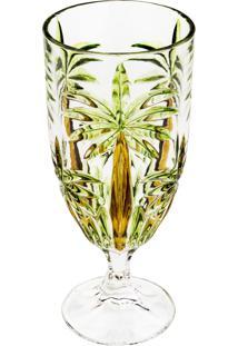 Jogo 6 Taças De Cristal Wolff Palm Tree Sprayed 450Ml Transparente/Verde