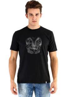 Camiseta Ouroboros Leão Masculina - Masculino-Preto