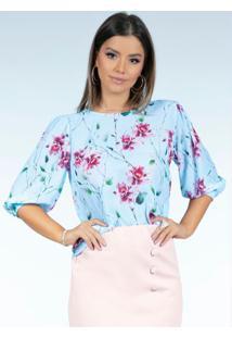 Blusa Floral Azul Ampla Com Mangas Bufantes
