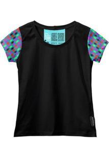Camiseta Baby Look Feminina Algodão Estampa Casual Estilo - Feminino-Vermelho+Preto