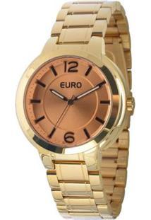 Relógio Euro Analógico Feminino - Feminino-Dourado