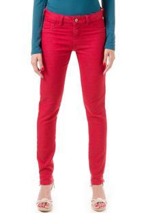 Calça Jeans Bloom Skinny Com Lycra Vermelha