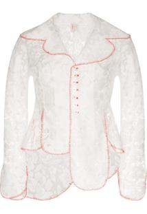 Yuhan Wang Curtain Stitch-Trimmed Lace Jacket - Branco