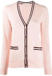 Tory Burch Striped Trim Cardigan - Rosa