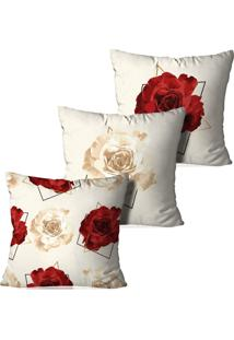 Kit 3 Capas Para Almofadas Decorativas Floral Bege 35X35Cm