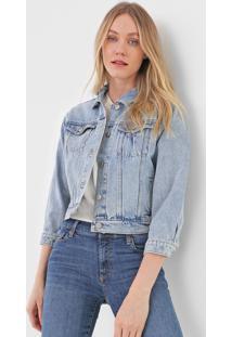 Jaqueta Cropped Jeans Gap Estonada Azul
