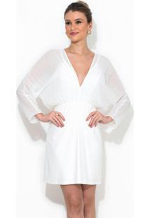 Vestido Curto Detalhe Plissado Branco