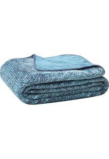 Cobertor Blenda Fashion Queen Size- Azul & Cinza Escuro