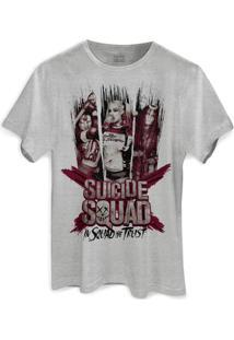Camiseta Dc Comics Bandup! Esquadrão Suicida We Trust - Masculino-Cinza
