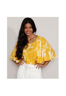 Blusa Feminina Manga Curta Ampla Blusê Estampada Floral Decote Redondo Amarela
