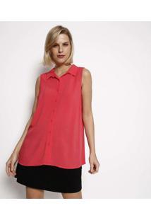 Camisa Lisa Com Recorte- Coralhering