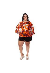 Blusa Almaria Plus Size Mais Na Moda Estampada Laranja