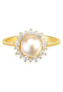 Anel Ouro Amarelo Pérola E Diamantes